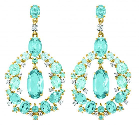 Ohrhänger in Gelbgold mit Diamanten und Topasen von Dorotheum Juwelier