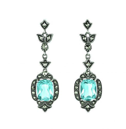 Ohrhänger mit Blautopasen und Markasiten von Dorotheum Juwelier